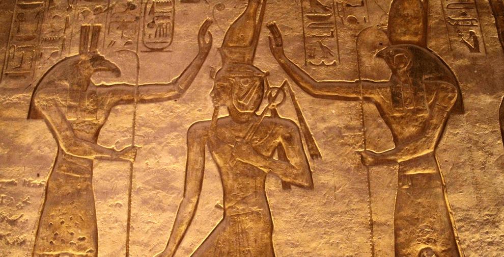Abu Simbel Seth Ramses Horus Mural